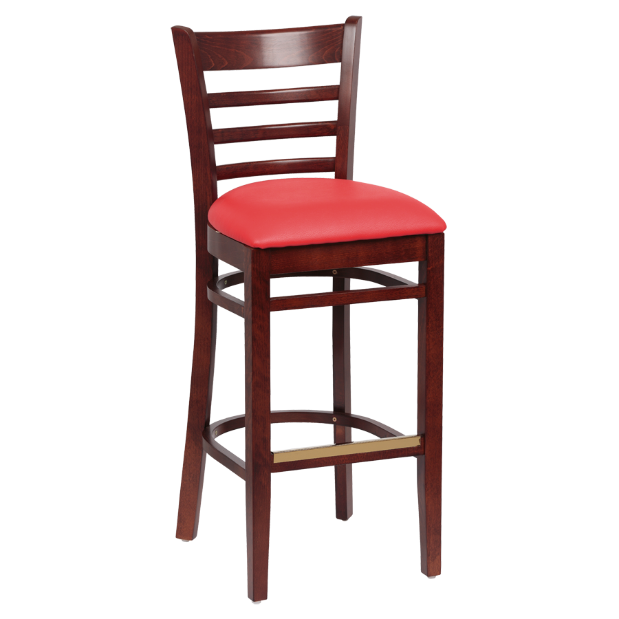 superior-equipment-supply - ROYAL - Royal Industries Ladder Back Walnut Finish Wood Bar Stool Red Vinyl Cushion Seat
