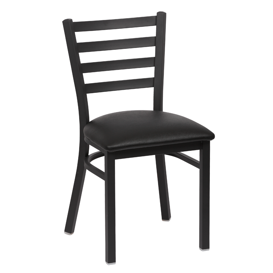 superior-equipment-supply - Royal Industries - Royal Industries Metal Frame Ladder Back Black Vinyl Cushion Seat Side Chair