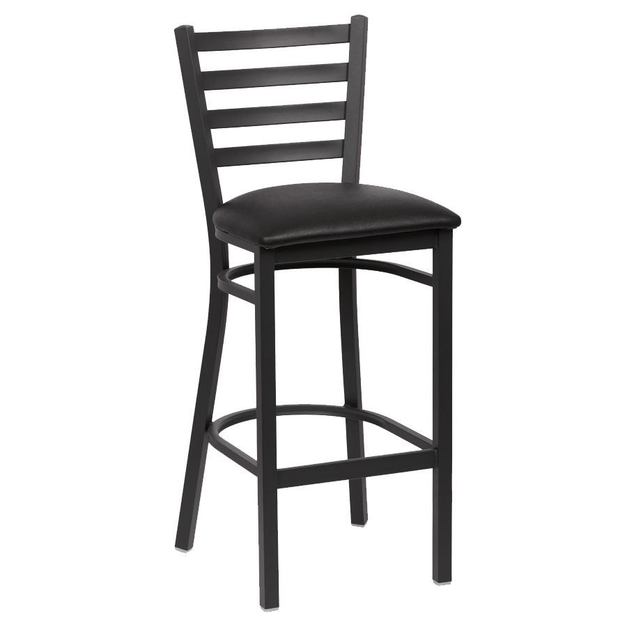 superior-equipment-supply - Royal Industries - Royal Industries Ladder Back Matte Black Finish Metal Frame Bar Stool Black Vinyl Cushion Seat