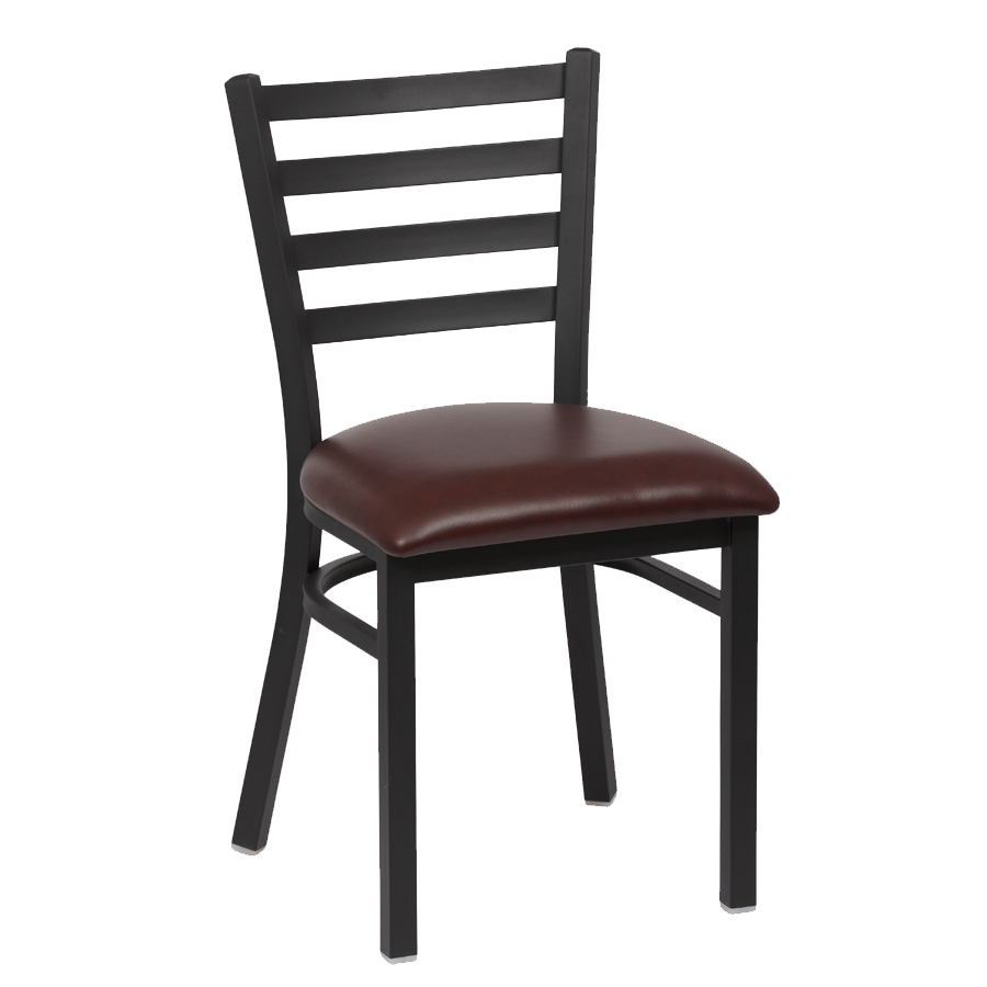 superior-equipment-supply - Royal Industries - Royal Industries Metal Frame Ladder Back Brown Vinyl Cushion Seat Side Chair