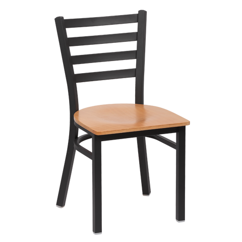 Royal Industries Metal Frame Ladder Back Natural Finish Seat Side Chair
