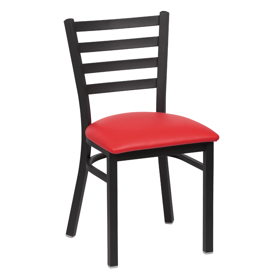 Royal Industries Metal Frame Ladder Back Red Vinyl Cushion Seat Side Chair