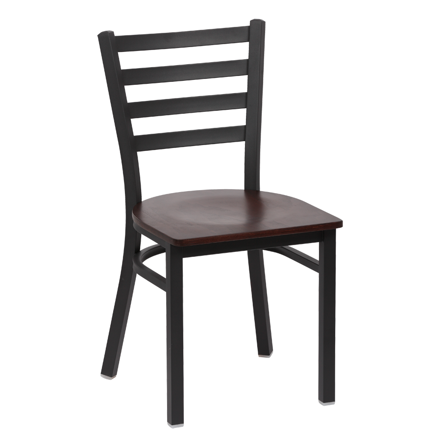 superior-equipment-supply - Royal Industries - Royal Industries Metal Frame Ladder Back Walnut Finish Seat Side Chair