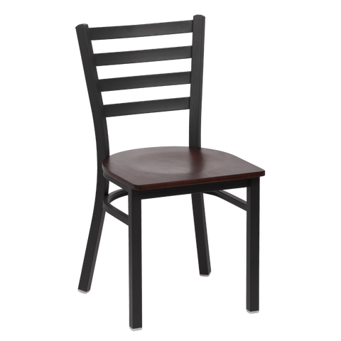 Royal Industries Metal Frame Ladder Back Walnut Finish Seat Side Chair