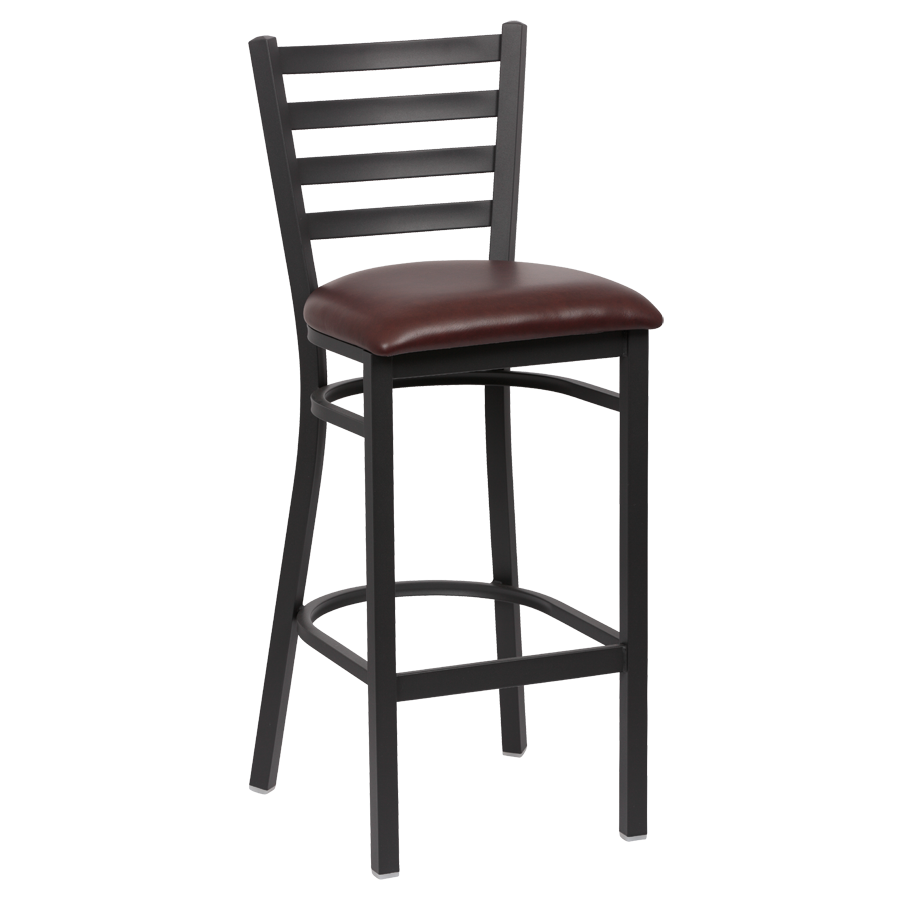 Royal Industries Ladder Back Matte Black Finish Metal Frame Bar Stool Brown Vinyl Cushion Seat