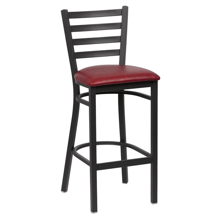 Royal Industries Ladder Back Matte Black Finish Metal Frame Bar Stool Crimson Vinyl Cushion Seat