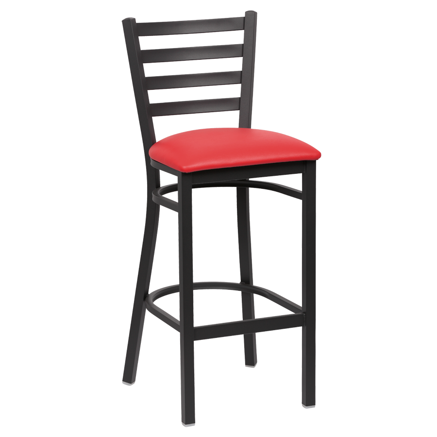 superior-equipment-supply - Royal Industries - Royal Industries Ladder Back Matte Black Finish Metal Frame Bar Stool Red Vinyl Cushion Seat