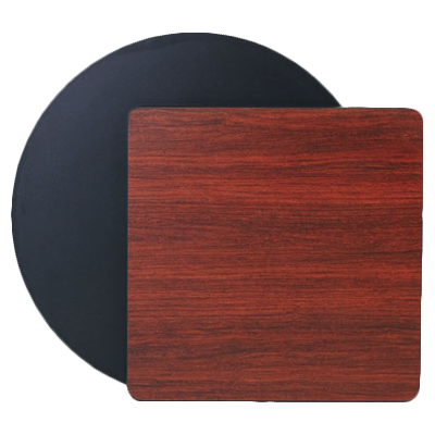 "Royal Industries Melamine Tops 36"" Diameter Mahogany Wood Grain/Black Round Table Top"