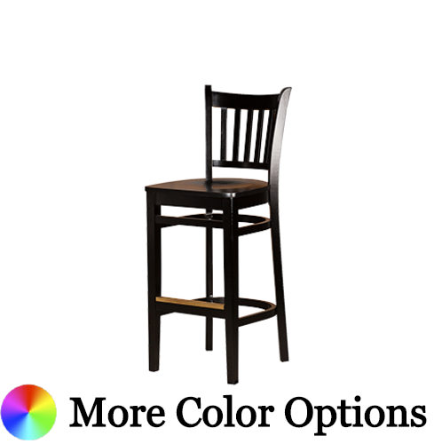 "Oak Street Vertical Back Bar Stool 43.75""H x 16.25""W x 18""D Black Finish European Beechwood Frame Brass Footguard With Non-Marring Nylon Glides"