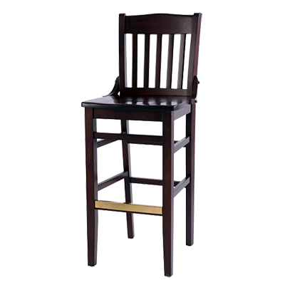 superior-equipment-supply - Oak Street Mfg - Oak Street Schoolhouse  Style Wood Bar Stool Walnut Finish With Brass Guarded Foot Rest