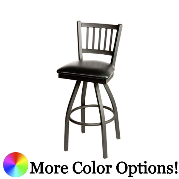 "Oak Street Vertical Back Swivel Bar Stool 46.28""H x 16""W x 17.75""D Premium Black Powder Coat Wrinkle Finish Steel & Metal Frame With Footring"