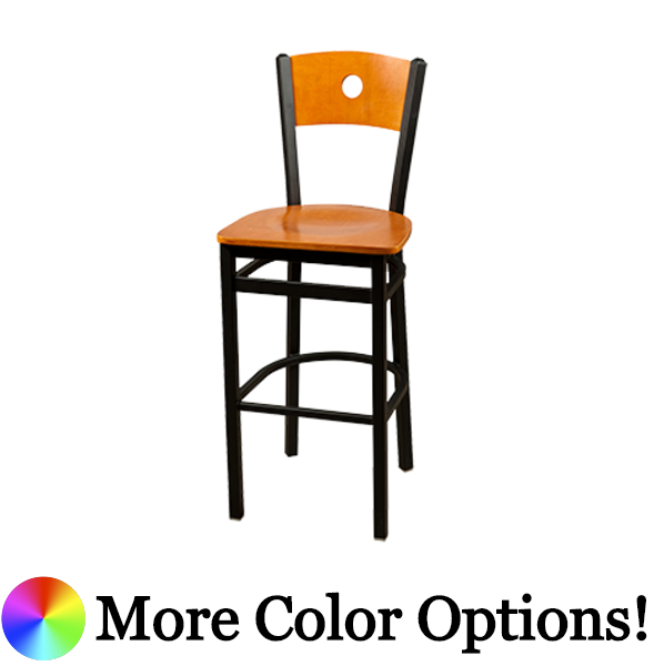 "Oak Street Bullseye Birch Plywood Back Bar Stool 43""H x 15.75""W x 16""D Steel Frame Premium Black Powder Coat Wrinkle Finish With Non-Marring Poly Glides"