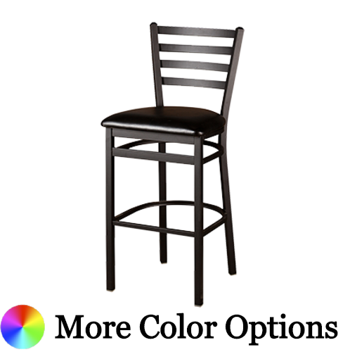 "Oak Street Ladder Back Bar Stool 46""H x 18""W x 19""D Black Powder Coated Wrinkle Finish Steel With Footrest"