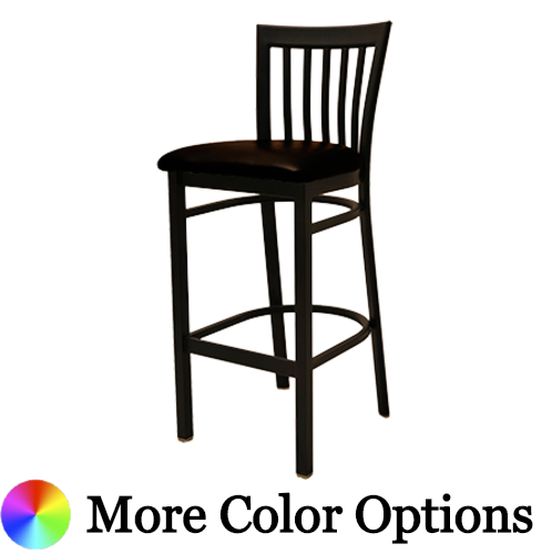 "Oak Street Jailhouse Back Bar Stool 42""H x 16""W x 16""D Black Steel Frame With Non-Marring Poly Glides"