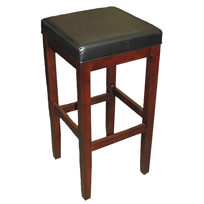 Oak Street Solid Beech Frame Bar Stool Backless With Walnut Finish & Vinyl Seat