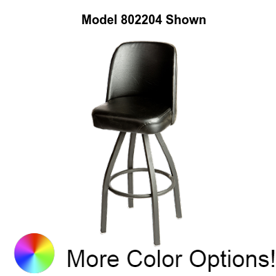 "Oak Street Bucket Swivel Bar Stool 40""H x 18""W x 16""D Espresso Vinyl Metal With Footring"