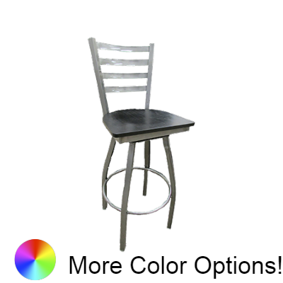 "Oak Street Ladder Back Swivel Bar Stool 46.28""H x 16""W x 17.75""D Metal Ball Bearings Swivel Steel Tubing With Footring"