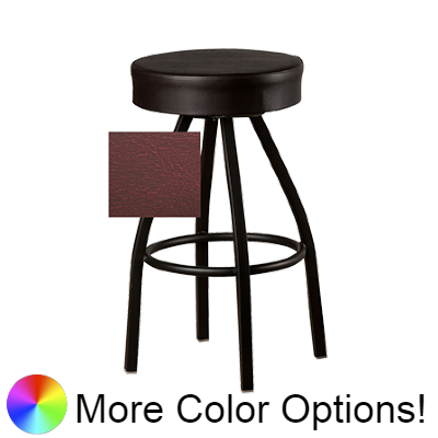 "Oak Street Backless Button Top Swivel Bar Stool 31""H x 17""W Wine Upholstered Seat Metal Bearings With Single Ring Base"