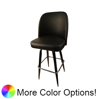 "Oak Street Non-Waterfall Front Bucket Seat Swivel Bar Stool 44""H x 19""W x 17.5""D Espresso Upholstered Seat Chrome Footring With Non-Marring Poly Glides"