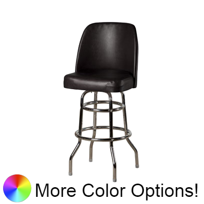 "Oak Street Non-Waterfall Front Double Stitched Bucket Seat Swivel Bar Stool 44""H x 19""W x 17.5""D Black Vinyl Chrome Frame With Non-Marring Poly Glides"