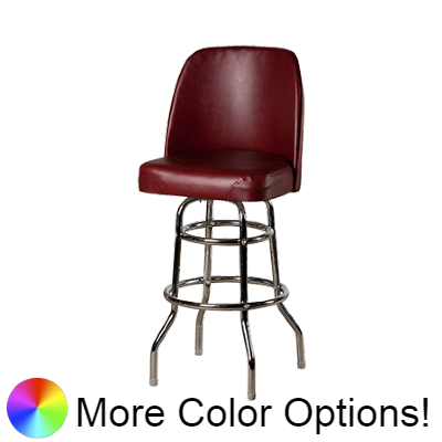 "Oak Street Non-Waterfall Front Double Stitched Bucket Seat Swivel Bar Stool 44""H x 19""W x 17.5""D Wine Vinyl Chrome Frame With Non-Marring Poly Glides"