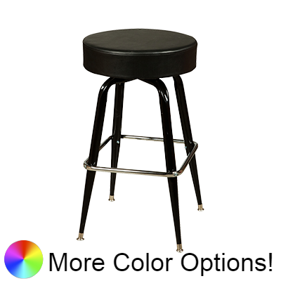 "Oak Street Backless Button Top Swivel Bar Stool 30""H x 17""W Black Upholstered Seat Chrome Square Ring With Single Ring Base"