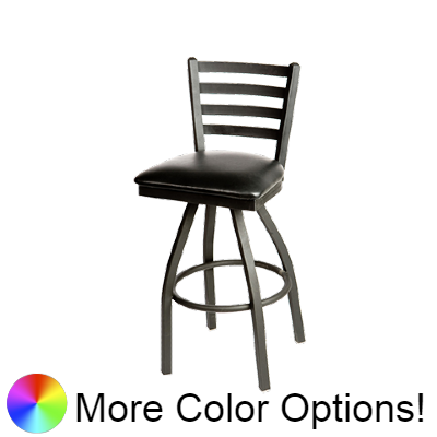 "Oak Street Ladder Back Swivel Bar Stool 46.28""H x 16""W x 17.75""D Metal Frame Metal Swivel With Footring"