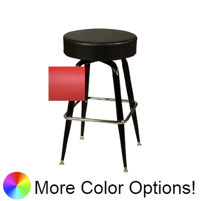 "Oak Street Backless Button Top Swivel Bar Stool 30""H x 17""W Red Upholstered Seat Chrome Square Ring With Single Ring Base"