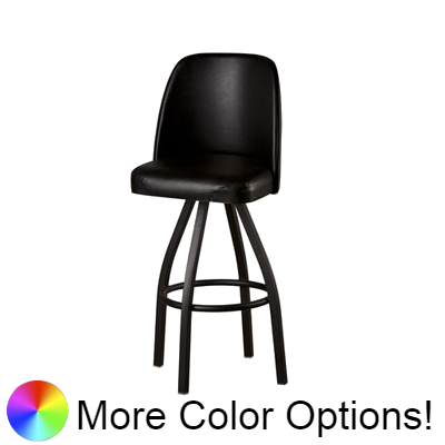 "Oak Street Double Stitched Bucket Swivel Bar Stool 45""H x 19""W x 17.5""D Black Upholstered Seat With Non-Marring Poly Glides"