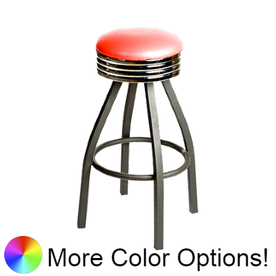 "Oak Street Backless Retro Upholstered Swivel Bar Stool 31""H x 14.5""W Red Vinyl Chrome Band Metal Base Metal Bar Bearings With Ring Basese Metal Bar Bearings With Ring Base"