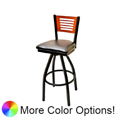 "Oak Street Five Line Back Swivel Bar Stool 46.25""H x 16.13""W x 17""D Birch Plywood Back Steel Frame Metal Ball Bearings With Non-Marring Poly Glides"