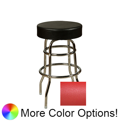 "Oak Street Backless Button Top Swivel Bar Stool 30""H x 17""W Red Upholstered Seat Metal Bearings Chrome Frame With Double Rings"