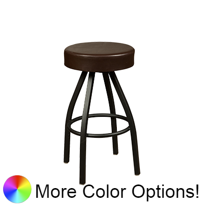"Oak Street Backless Button Top Swivel Bar Stool 31""H x 17""W Espresso Upholstered Seat Metal Bearings With Single Ring Base"