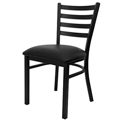 Oak Street Dining Chair Ladder Back Wood Seat With Black Powder Coat Frame Finish
