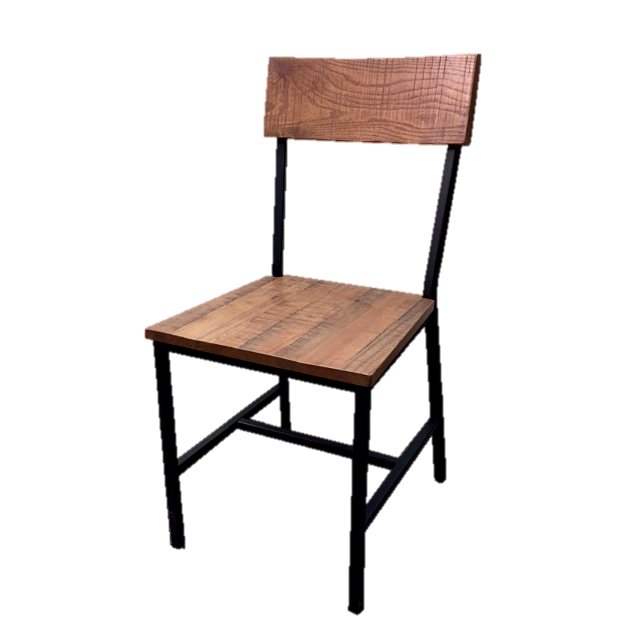Oak Street Timber Series Chair With Wood Back And Seat Black Metal Frame