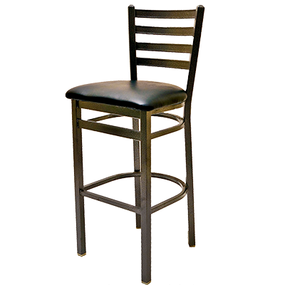 Oak Street Metal Frame Bar Stool Ladder Back With Silvervein Finish & Wood Seat