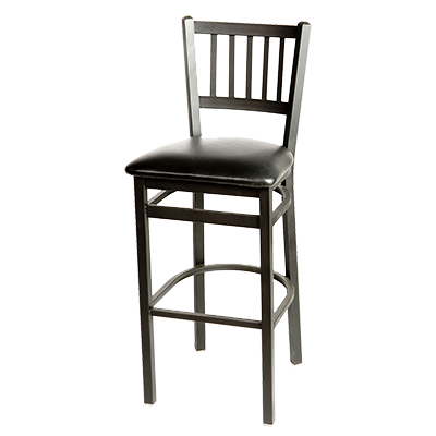 Oak Street Metal Frame Bar Stool Vertical Back With Wood Seat