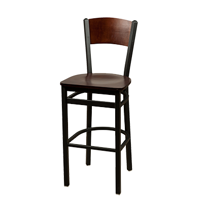 Oak Street Metal Frame Bar Stool With Birch Plywood Back & Wood Seat