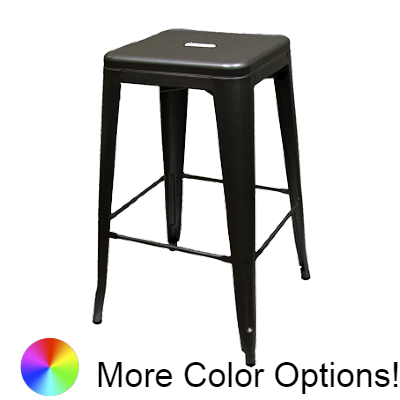 "Oak Street XL Brewhouse Stacking Bar Stool 30""H x 15""W x 15""D Black Matte Metal With Indoor Use"