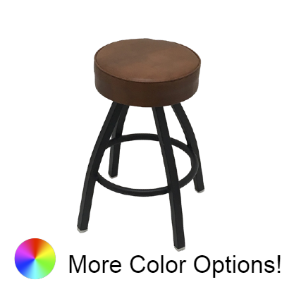 "Oak Street Backless Swivel Bar Stool 26""H x 14.5""W Buckskin Vinyl Metal With Footring"