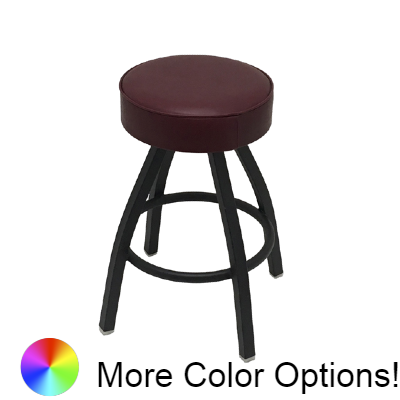 "Oak Street Backless Swivel Bar Stool 26""H x 14.5""W Wine Vinyl Metal With Footring"