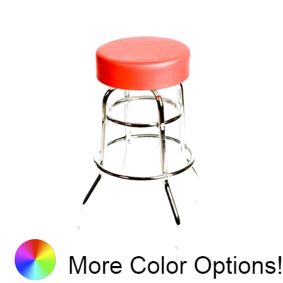 "Oak Street Button Top Swivel Bar Stool 30""H x 14.5""W Red Vinyl Metal Ball Bearing Chrome Frame With Non-Marring Poly Glides"