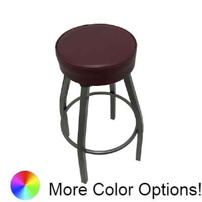 "Oak Street Button Top Swivel Bar Stool 31.5""H x 14.5""W Wine Vinyl Metal Frame With Single Ring Base"