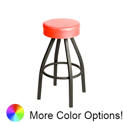 "Oak Street Button Top Backless Swivel Bar Stool 31""H x 14.5""W Red Upholstered Button Top Seat Metal Ball Bearings With Single Ring Base"