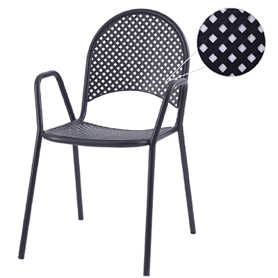 superior-equipment-supply - Oak Street Mfg - Oak Street Mfg Diamond Back Series Outdoor Arm Chair Punched Steel Mesh Back & Seat