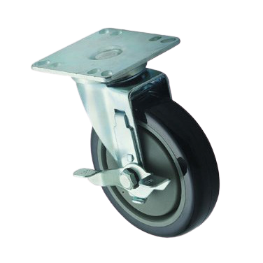 "Universal Caster Set 5"" Diameter Wheel with 3-1/2"" x 3-1/2"" Plate & Brake - 2 Casters/Set"