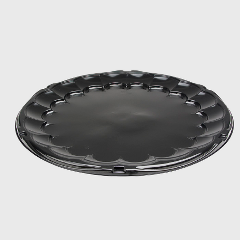 "Black OPS-HIPS Plastic 18""Flat Party Tray(Base Only) 18""W x 18""D x 0.938""H 9818K - 50/Case"