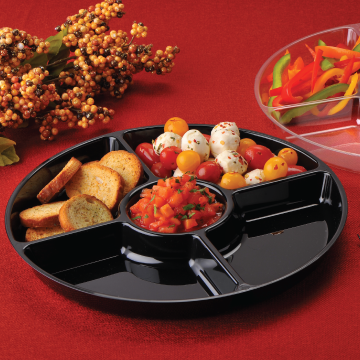 "Black Plastic 12"" Round 5 Compartment Cater Tray EMI-ECT12B - 25/Case"
