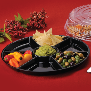 "Black Plastic 16"" Round 7 Compartment Cater Tray EMI-ECT16B - 25/Case"