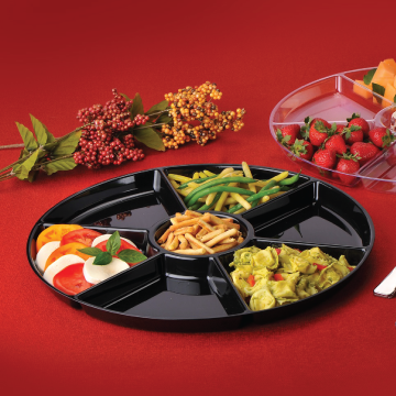 "Black Plastic 18"" Round 7 Compartment Cater Tray EMI-ECT18B - 25/Case"